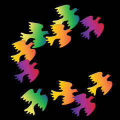 Flock of colorful birds on a black background