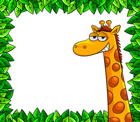 cartoon giraffe over a frame of leaves with copy space