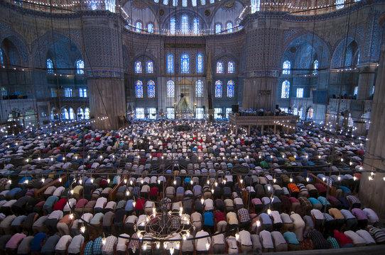 Muslim Friday prayer, blue mosque Turkey