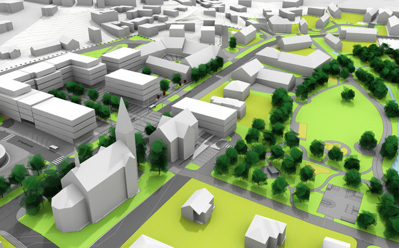 render of a city model in green and white
