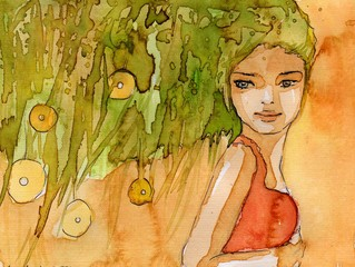 abstrakcyjny portret młodej dziewczyny