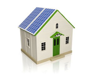 3d illustration: Obtaining energy from solar panels. House with
