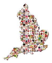 map of england with a lot of people portraits