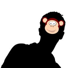 monkey head on man head illustration