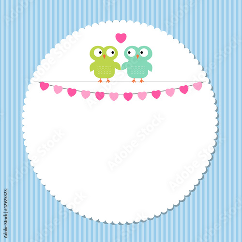 Cute frame with owl couple\