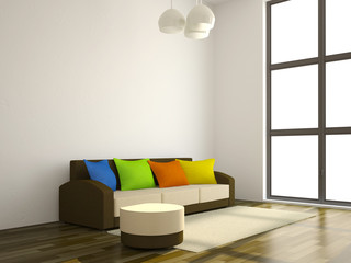 The sofa with the color pillows