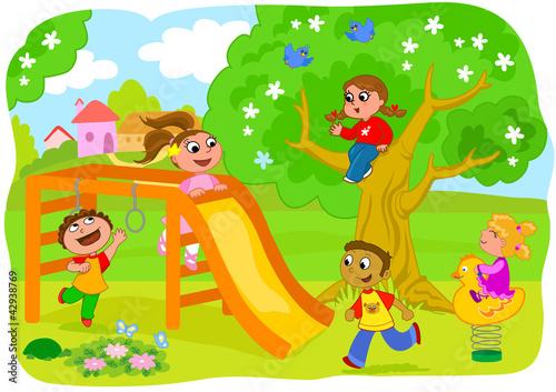 Bambini Che Giocano Al Parco Giochi Stock Image And Royalty Free