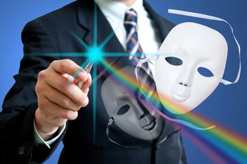 ฺBusinesman with white drama masks