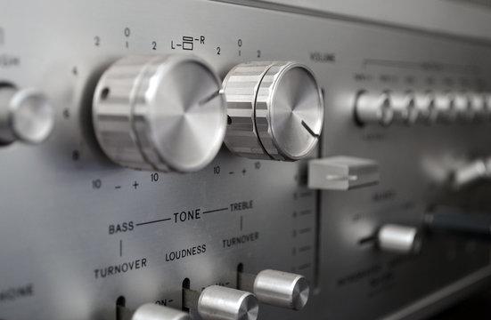 Vintage amplifier close up, old audio system
