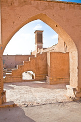 Street of of Yazd city . Alley made with hand made mud-brick.  I