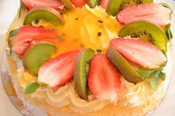 Pavlova decorated fresh cream
