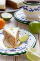 Carrot cake with walnuts and lime mascarpone glaze