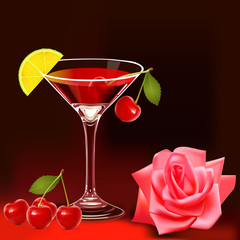 with goblet rose and ripe cherry