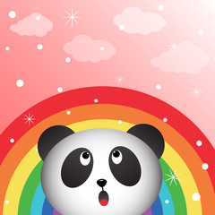 Panda in the sky with rainbow