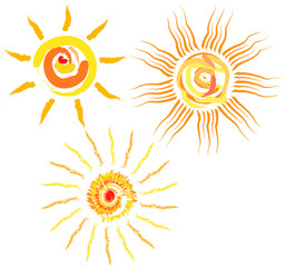 Set of abstract suns, vector iillustration
