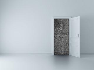 door to concrete wall