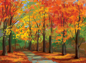 Vector of autumn landscape, pathway in park.