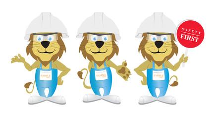 aslan işçi sağlığı güvenliği maskot