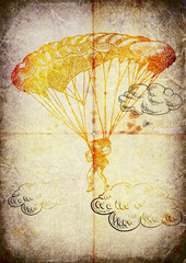 parachutist, hand drawing, vintage processing