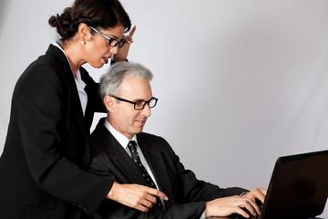 woman boss correcting her employee