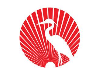 Bird logo with raising sun
