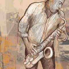 Foto op Textielframe Muziekband saxophonist playing saxophone on grunge background