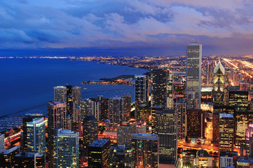Wall Mural - Chicago skyline panorama aerial view