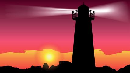 lighthouse on the coast - vector illustration