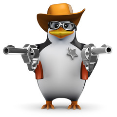 Aluminium Prints Wild West 3d Penguin in glasses dressed as a Sheriff