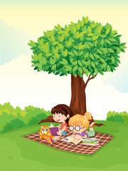 Printed kitchen splashbacks Cats a boy and girl studying under tree.