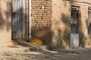 Piments séchant au soleil dans une ruelle népalaise