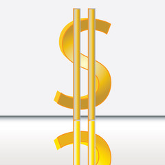 Abstract dollar sign isolated on white
