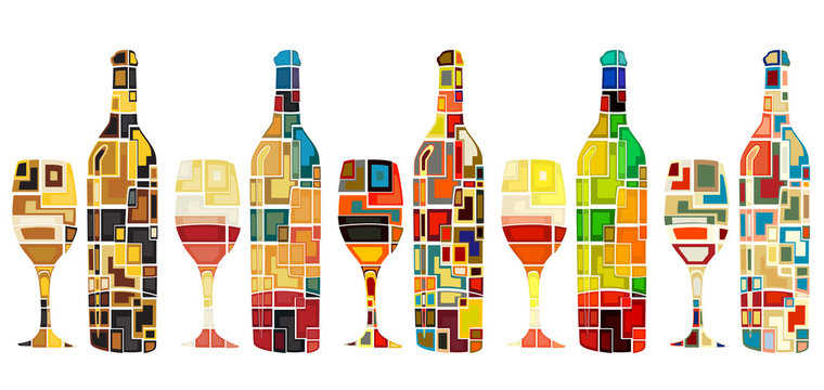 Abstract wine collection