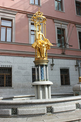 "fountain ""Princess Turandot"" at the Old Arbat Street"