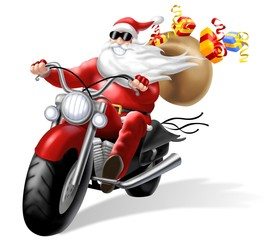 Photo on textile frame Motorcycle babbo natale motorizzato