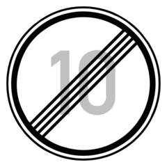 Fototapete - Verkehrsschild - Ende Höchstgeschwindigkeit (10)