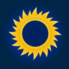 The sun circle. On blue sky background. Vector illustration
