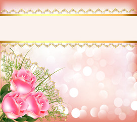 festive background with bouquet of the roses, tape with lace