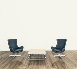minimal modern interior armchair and table