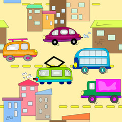 car in city roads seamless background. auto vehicle wallpaper