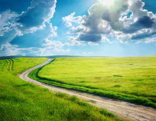 Fototapete - Road lane and deep blue sky