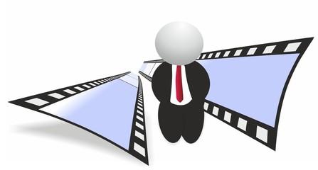 Film strip and man