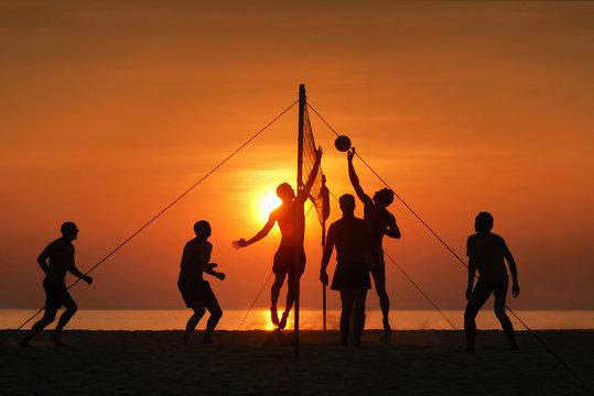 silhouette beach volleyball