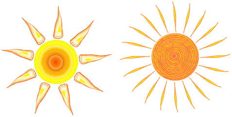 set of two artificial suns, vector illustration