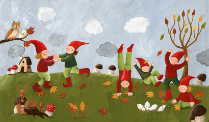Acrylic illustration of the cute kids - dwarfs dancing in the fa