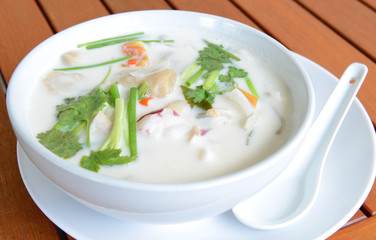 Seafood soup with coconut milk