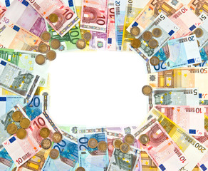 euro coins and banknotes frame