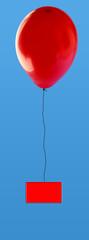 ballon rouge et étiquette rouge