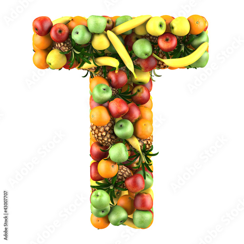 """letter - t made of fruits. isolated on a white."""" stock photo and"""