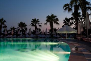 Swimming pool in evening
